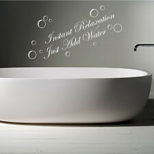 INSTANT RELAXATION JUST ADD WATER Bathroom Words Quotes Wall Sticker Decals W5