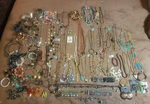 7lb Vintage Huge lot Costume Jewelery Gemstone Lot bracelets necklaces Brighton+