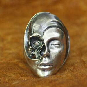 925 Sterling Silver Life Death Heaven Hell Skull Face Ring Mens Punk Ring TA179B