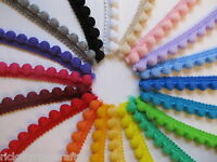 SMALL POM POM TRIM 12mm Wide Fixed Bobbles PER METRE OR REEL Quality Fringe