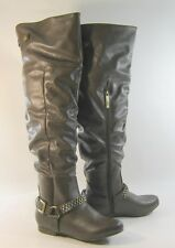 Chocolate Brown Flat Round Toe Ankle Buckle Sexy Over Knee Boots Size 6