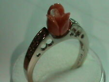 14kt White Gold Ring with Diamonds & Hand Natural Undyed Salmon Coral Rose
