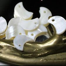 10 Perles CROISSANTS de LUNE  - Nacre Blanche Véritable - 10/13 mm