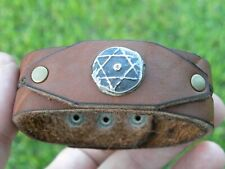 Authentic Star of David ancient coin 1800 s cuff bracelet genuine Bison leather