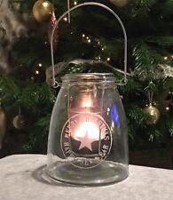 Christmas Lantern Hurricane Lamp Large Glass Tea Light Holder Star Hanging