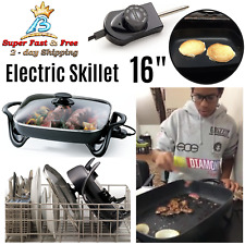 """Buffet Server Nonstick Deep Electric Skillet Frying Fry Pan Glass Cover 16"""" NEW"""