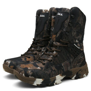 Outdoor Men Ankle Boots Camouflage Round Toe Flat Non-Slip Lace-Up High-Top Shoe