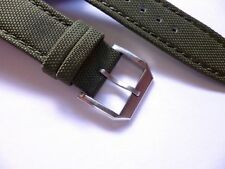 - 22mm Green Canvas Band Buckle - Nylon Leather Back Watch Strap - IWC Style