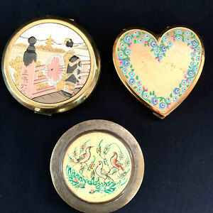 3 Powder Compacts Boxes Hand Painted Asian Heart