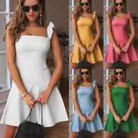 Womens Ladies Summer Sleeveless Mini Dress Holiday Casual Party Ruffle Sundress