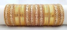 Indian Bollywood Etnhic Traditional 48pc Golden Colored Bangles Set Jewelry 2.8.