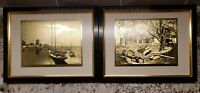 Vintage Lionel Barrymore Gold Foil Etched Matted Framed Art Sail Boat Set of 2