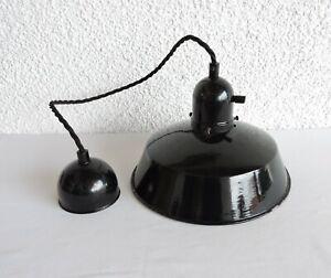 orig. Deckenlampe Emailschirm schwarz Art tDeco Bauhaus Lampe Loft um 1920