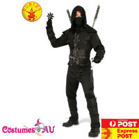 Mens Dark NINJA COSTUME Adults Black KARATE Japanese Warrior HALLOWEEN Outfits