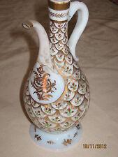 PERFUME BOTTLE OPALINE TURKISH GOLD HANDPAINT AROUND UNIQUE OLD BROKEN GLUED