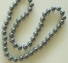 """8MM Dark Gray AAA South Sea Shell Pearl Necklace 18"""" NEW (silk gift bag)"""