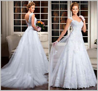 White/ivory Lace Wedding Dress Bridal Gown Custom Size 4 6 8 10 12 14 16 18+20+