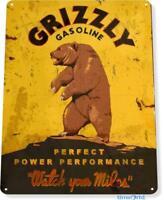 Grizzly Gasoline Auto Shop Garage Rustic Metal Décor Sign