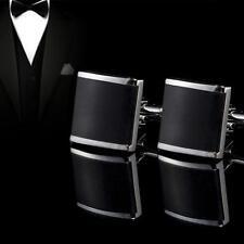 Silver & Black Enamel Cufflinks Mens StainlessSteel Business Shirt Cuff Links*w