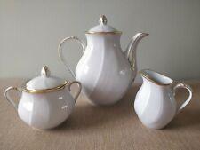 Petite cafetière, sucrier, pot à lait Bernardaud Verlaine porcelaine Limoges