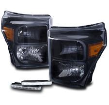 2011-2016 FORD F250 F350 F450 SUPERDUTY HEADLIGHTS LAMPS BLACK W/LED DRL SIGNAL