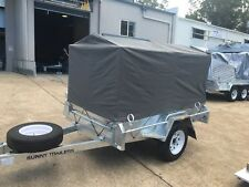 CANVAS COVER NEW 7 X 5 900MM HIGH AND RUBBER  CORD REAR DOOR WITH ZIPPER