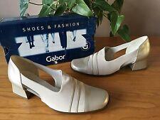 Gabor Fashion taupe beige leather stretch fabric court shoes UK 6.5 EU 39.5