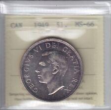 1949 Canada Silver Dollar - ICCS MS-66 Cert# XWD757