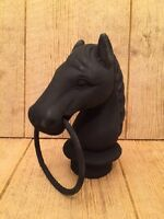 Black Cast Iron Horse Head With Ring Topper for Hitching Post  0170-11617