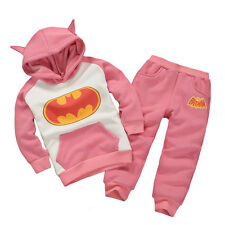 2pcs Baby Boys & Girls Batman Hooded Tops Sweatshirt + Pants Hoodie Outfits Set