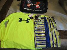 NEW Boys UNDER ARMOUR 2Pc OUTFIT Blu/Ylw Shorts+Ylw L/s Top YLG FREE SHIPPING!