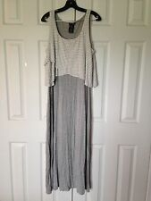NICE GRAY GREY AND WHITE POPOVER MAXI DRESS SIZE L NWT!