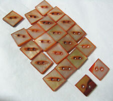 GORGEOUS SINGLE ART DECO ORANGE SQUARE MOTHER OF PEARL BUTTON 9-10MM
