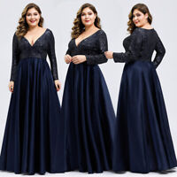 Ever-Pretty Long Sleeve Mother Of Bride Plus V-neck Sequins Evening Dress 00817