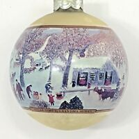 Grandma Moses Glass Christmas Ornament Vintage Hallmark Sugar Time Green Sleigh