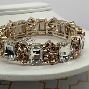 Charter Club Women's Bracelet Rose Gold Tone Clear Crystals New
