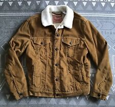 "🇺🇸 LEVIS Tan Brown Sherpa Trucker Jacket (S)36""-38"" ⭐️Superb Colour⭐️"
