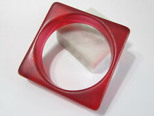 RED JEWEL CONTEMPORARY FUN RETRO SQUARE BANGLE BRACELET RESIN SMALL CHILDREN