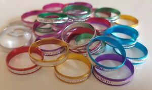 Pack of 30 Aluminium Fashion Rings Mixed Colours/Sizes Party/Goody Bags Dress Up