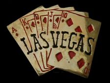VINTAGE 1970'S LAS VEGAS SOLID BRASS ROYAL FLUSH GAMBLING BELT BUCKLE