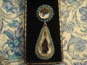 Beautiful,Finely Crafted Antique Victorian: Rock Crystal & Turquoise Gems Brooch