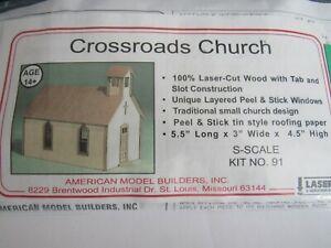 American Model Builders S Scale Crossroads Church Kit #91   Bob The Train Guy