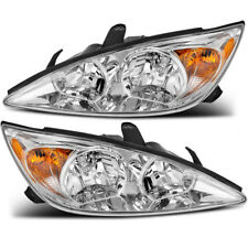 Headlights Assembly Replacement for 2002-2004 Toyota Camry Chrome Headlamps PAIR