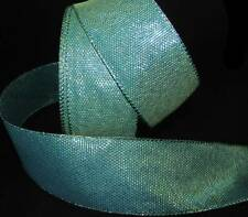 "5 Yds Peacock Blue Green Teal Mermaid Iridescent Wired Ribbon 2 1/2""W"