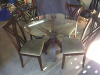 "48"" Dining Room Glass Table Top on Wood Base with 4 chairs.  Never used."