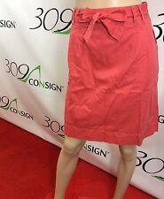 New Boden Women's 10 Medium Salmon Pink 100% Cotton Belted Straight Skirt M