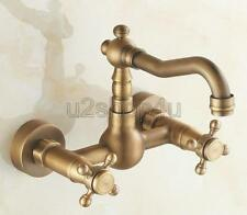 Antique Brass Wall Mounted Swivel Kitchen Sink Faucet Mixer Basin Tap Usf002