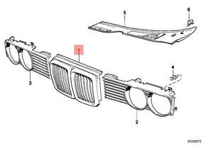 Genuine BMW E32 Sedan Front Radiator Kidney Chrome Grille OEM 51131964863
