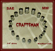 "CRAFTSMAN 1/4"" Drive Socket Set - SAE - Metric - 18 Piece - 6 Point - NEW - FAST"