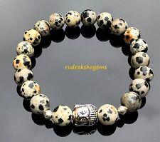 Buddha Dalmatian Jasper Natural Gemstone Bracelet Yoga Meditation Chakra Healing